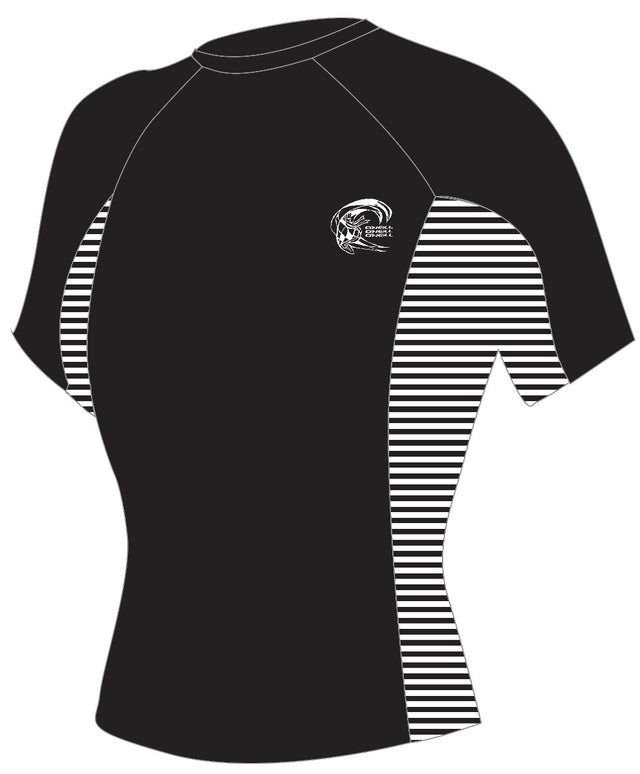 Womens Skins Short Sleeve Rash Vest - Black/Stripe