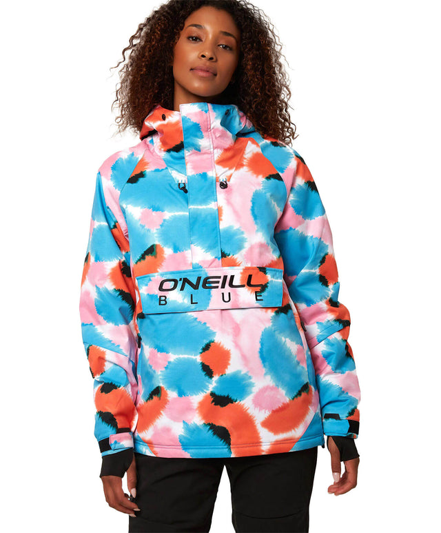 Womens O'Riginals Anorak Snow Jacket - Blue AOP / Red