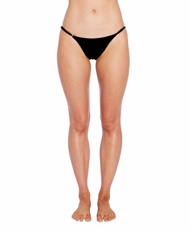 Saltwater Solids Micro Side Bikini Bottom - Black