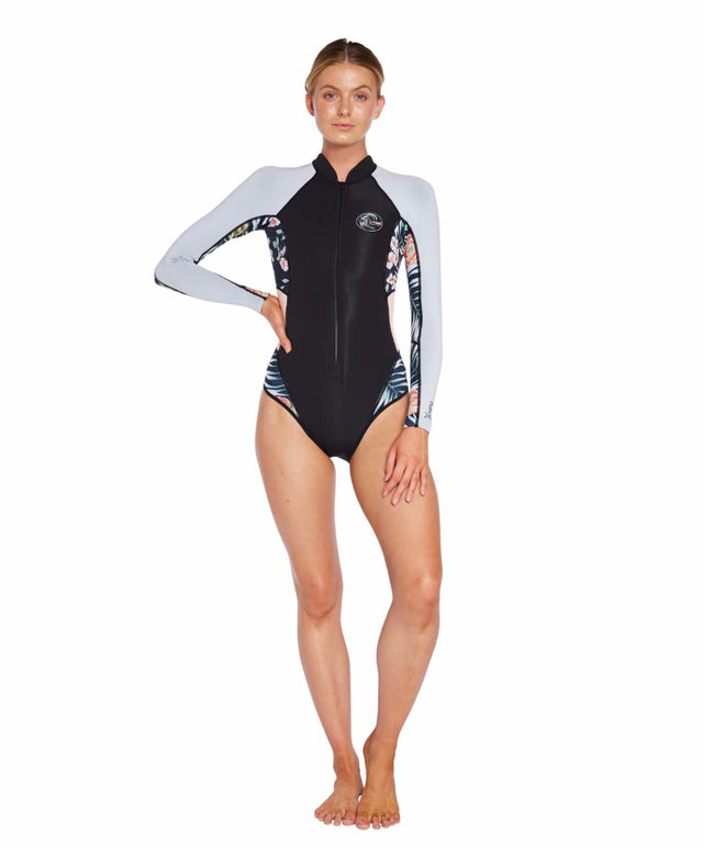 Bahia 2mm Long Arm Cheeky Spring Suit - Black Grey Dawn