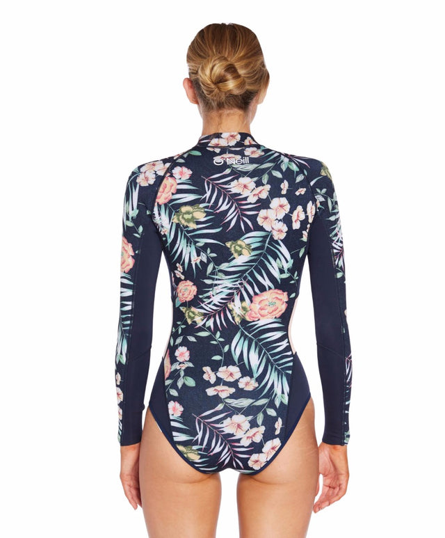 Bahia 2mm Long Arm Cheeky Spring Suit - Denim Floral Abyss