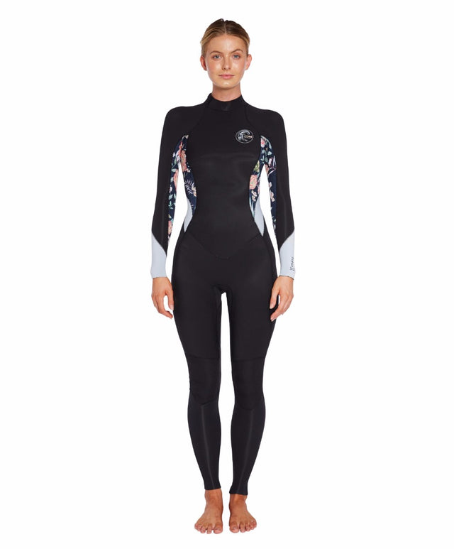 Bahia 3/2mm Back Zip Steamer Wetsuit - Black Dahlia Floral