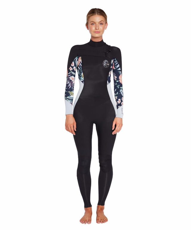 Bahia 3/2mm Fuze Steamer Wetsuit - Black Denim Floral