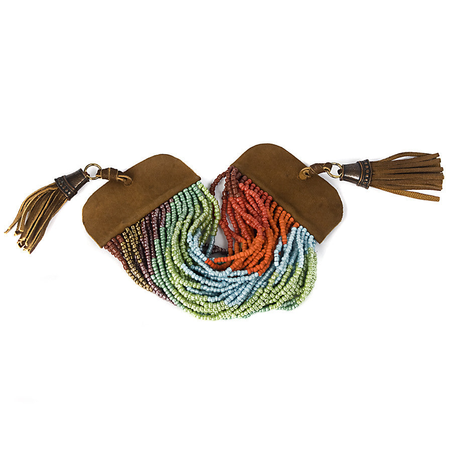 Cuff Bracelet  Multicolor Beaded Strands With Leather Tassles Turquoise, Green. Orange