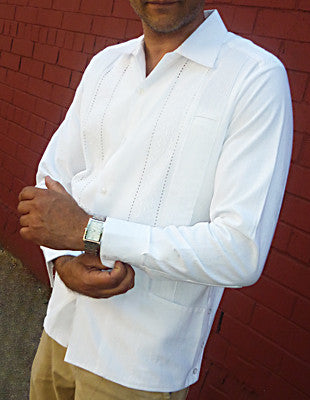 Luxury Authentic mens White Guayabera long sleeve