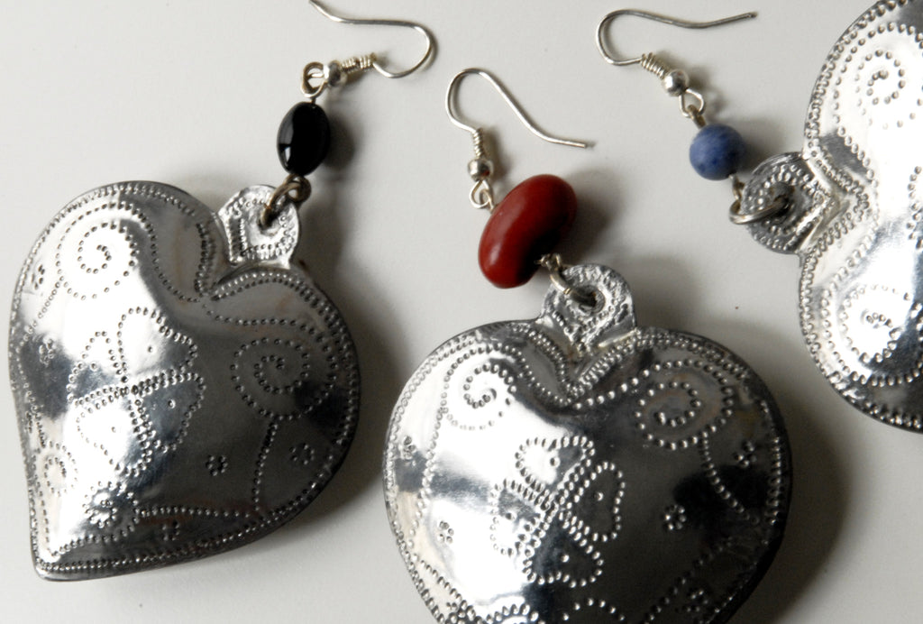 Handmade large hollow tin heart earrings colors