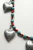 Handmade tin heart necklace with turquoise detail