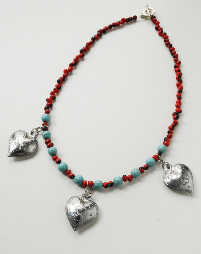 Handmade tin heart necklace with turquoise