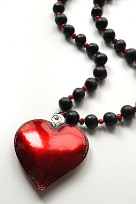 Handmade red tin heart necklace