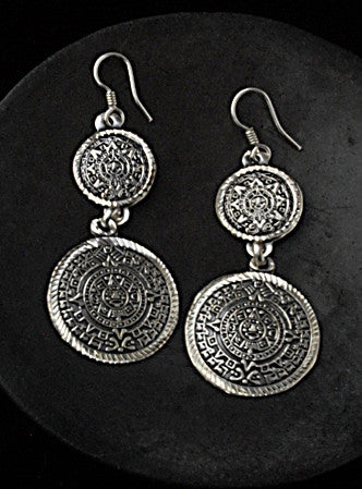Authentic .950 silver Aztec Calendar coin earrings