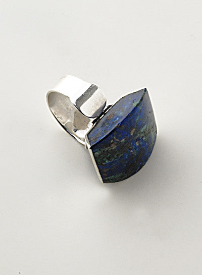 Luxury .950 silver Azurite ring side