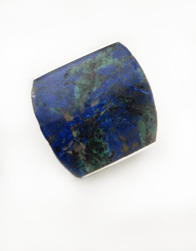 Luxury .950 silver Azurite ring front