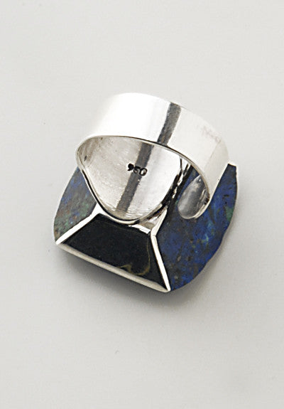 Luxury .950 silver Azurite ring back