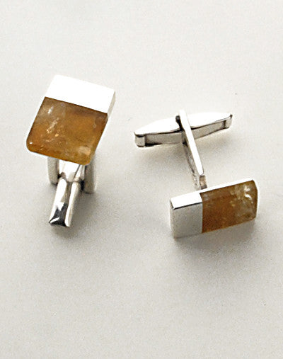 Luxury .950 silver cufflinks with yellow citronite stones
