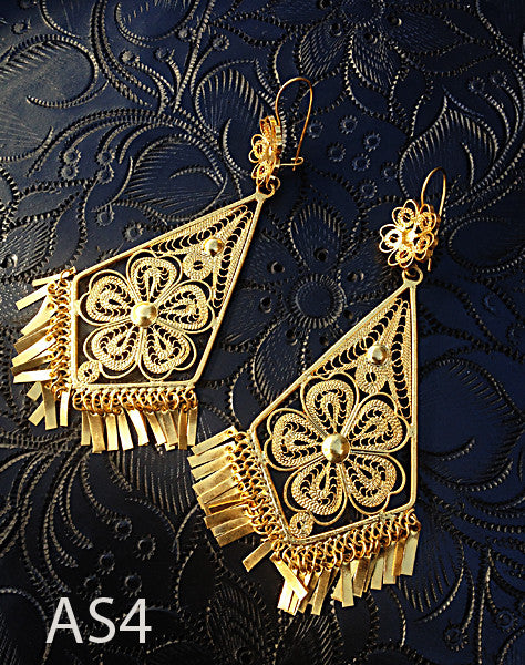 Gold Plate Filigree Earrings Extra Large