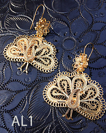 Handmade authentic filigree costume jewelry butterfly design AL1