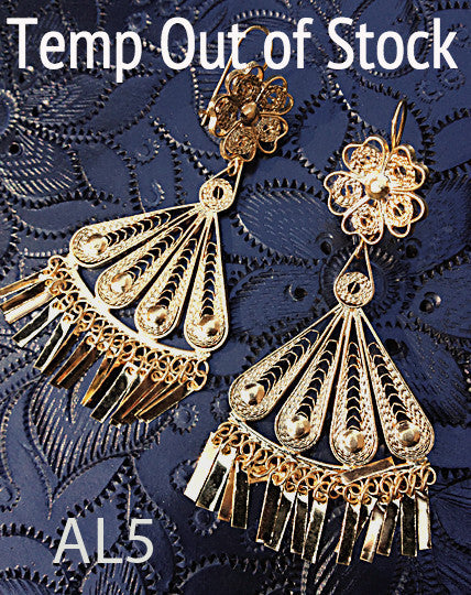 Handmade authentic filigree costume jewelry fan design AL5