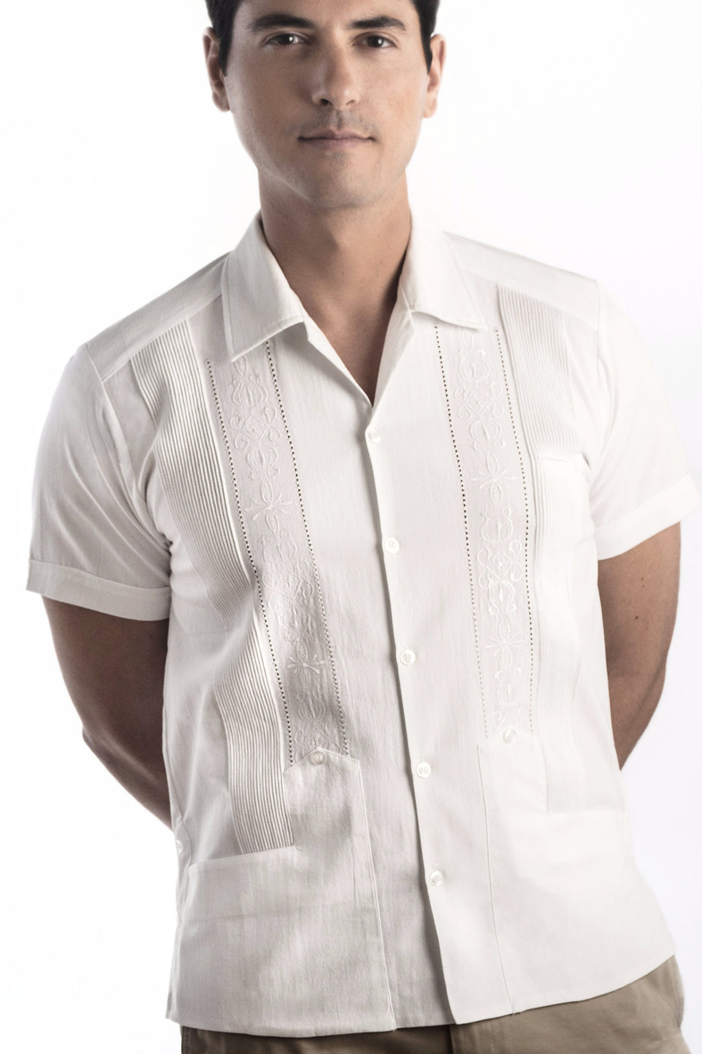 Authentic Huitzilli Guayabera Rejilla 100% Cotton Short Sleeve Made in Yucatán
