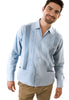 Authentic Gauaybera Rejilla Long Sleeve Light Blue 100% Cotton