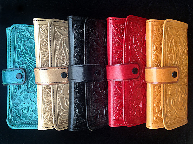 Handmade Mexican Stamped Leather Clutch Wallet
