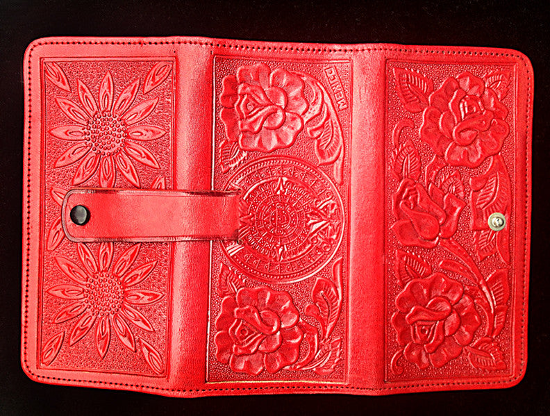 Mexican Stamped Leather Clutch Wallet Huitzilli Handmade Oaxaca