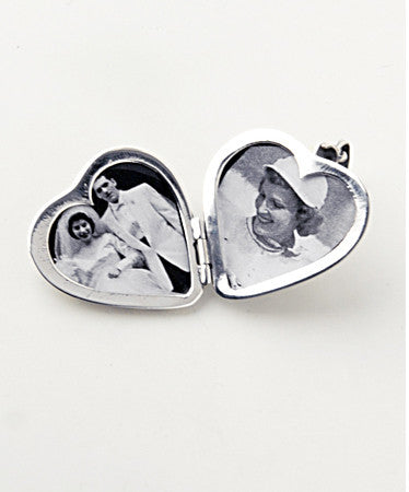 Luxury two sided heart shaped .925 silver locket open with pictures