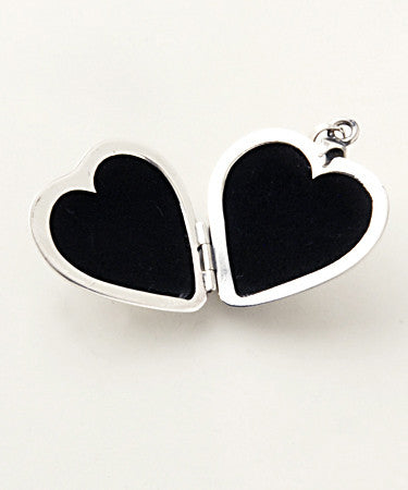 Luxury two sided heart shaped .925 silver locket open without pictures