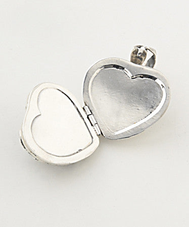 Luxury flower detail heart .925 silver locket open without pictures
