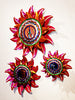 Authentic Mexican sun tin mirrors set of three