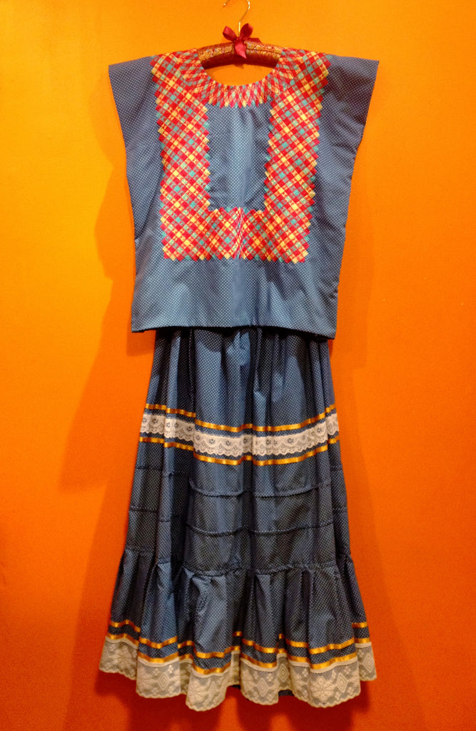 Authentic Mexican blue dot two piece huipil