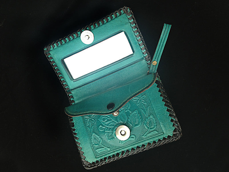 Handmade leather clutch wallet with strap authentic Mexican design inside mirror