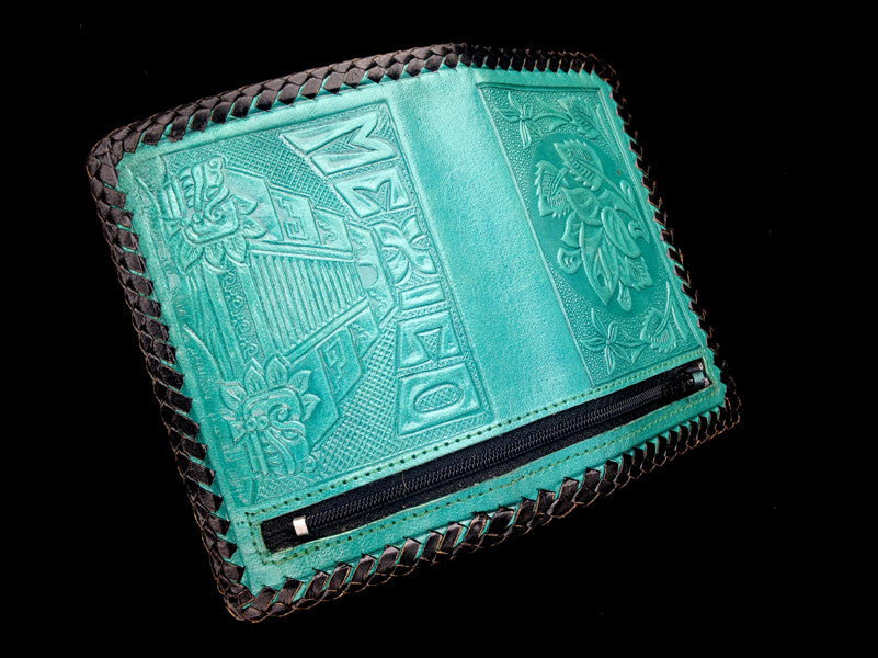 Handmade leather clutch wallet with strap authentic Mexican design back