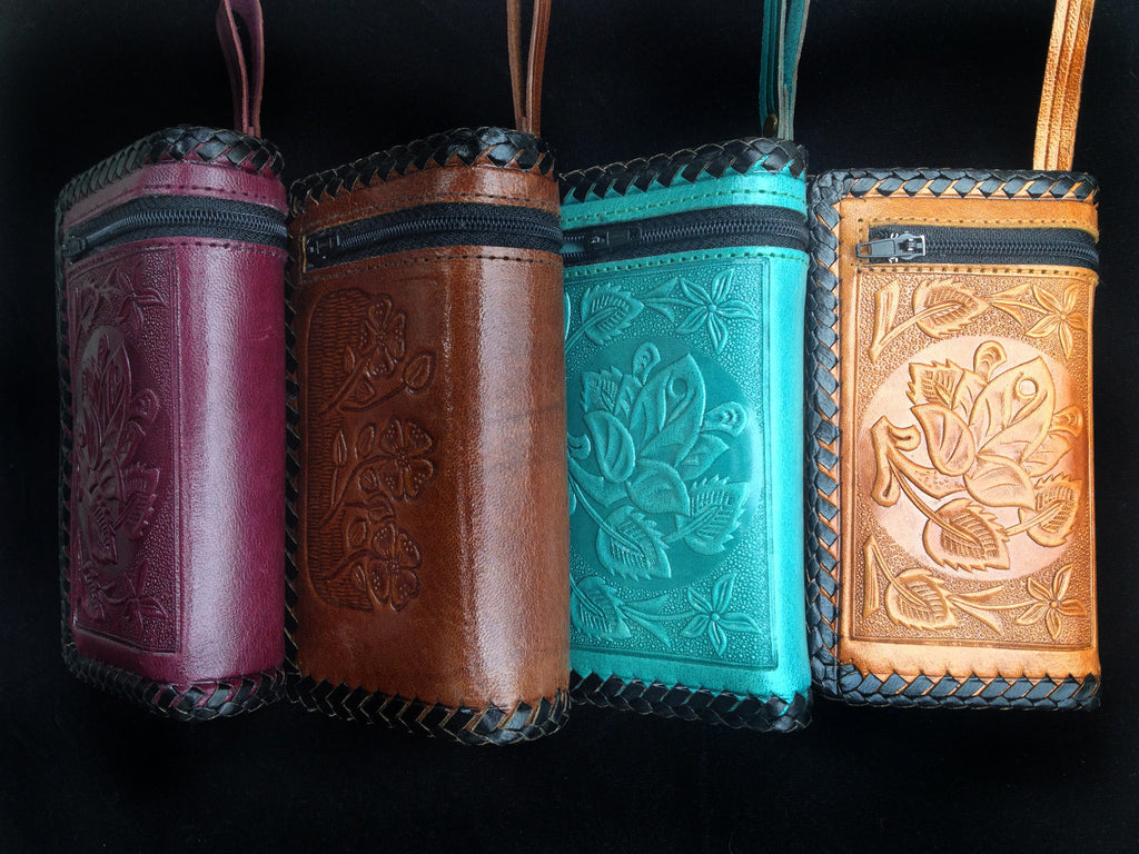 Handmade leather clutch wallet with strap authentic Mexican design colors