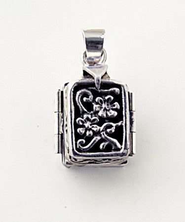 Luxury sterling silver locket book closed