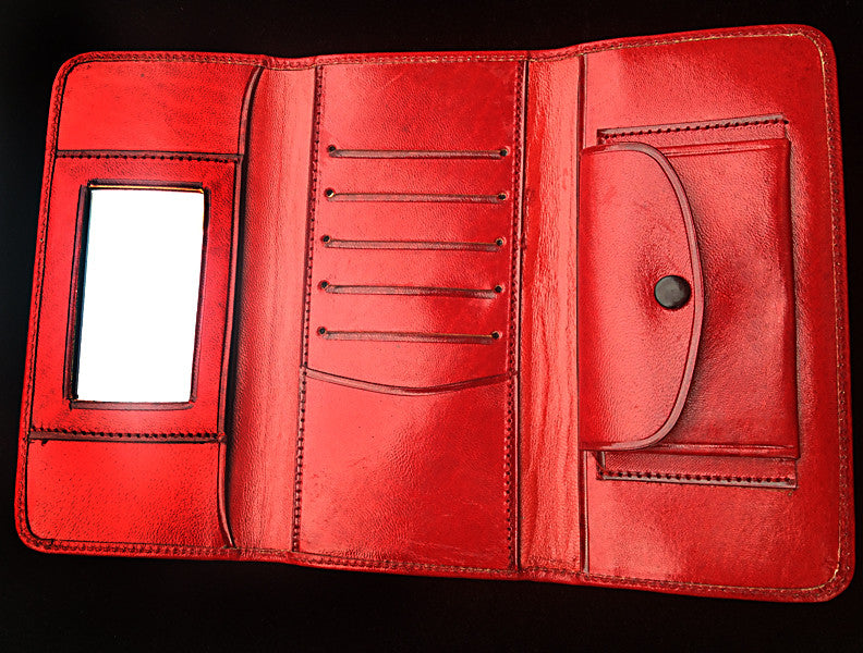 Handmade Mexican Stamped Leather Wallet Oaxaca Huitzilli
