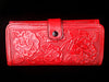 Handmade Mexican Stamped Leather Wallet Clutch Red Huitzili