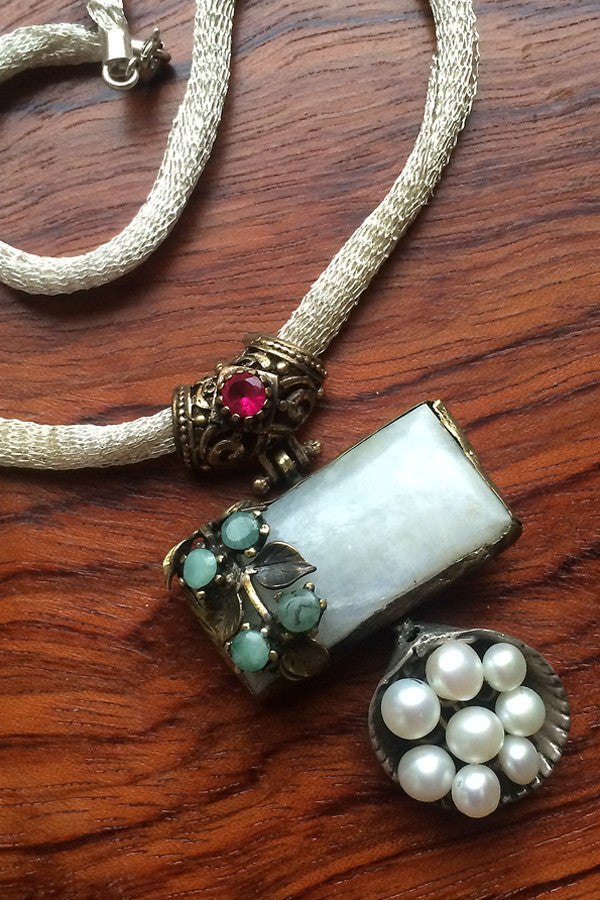 One of a kind gemstones and silver necklace with metallic mesh cord from Turkey