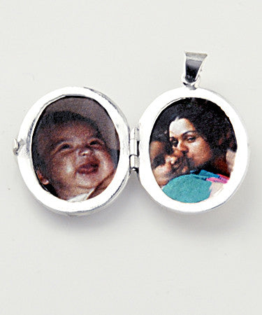 Luxury madonna .925 silver locket open with pictures
