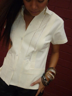 Luxury Authentic womens luxury Guayabera short sleeve front