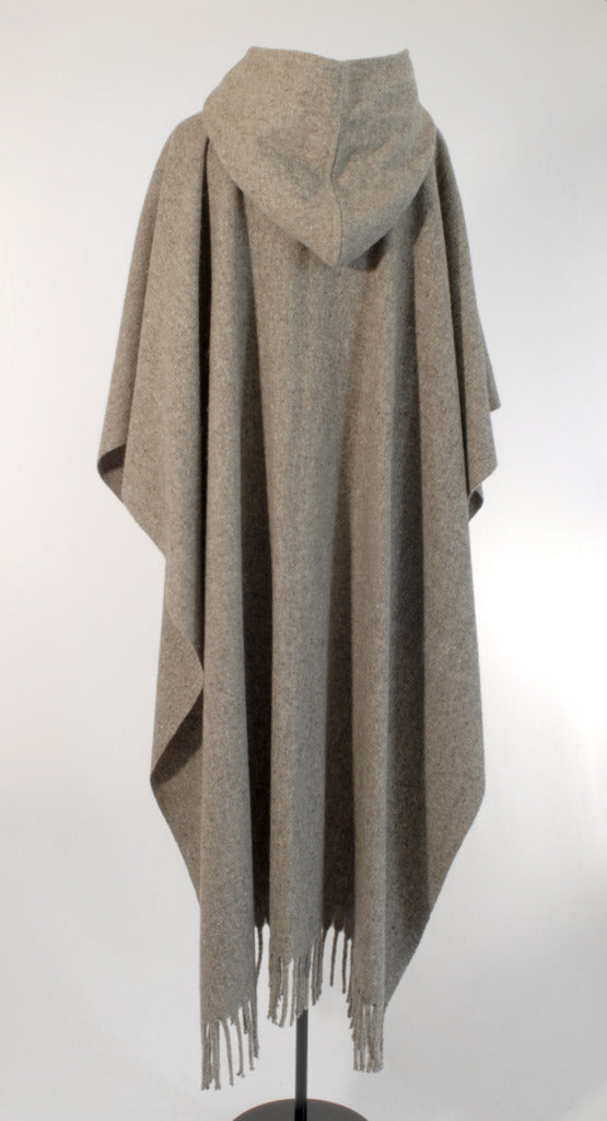 Authentic womens grey Hooded wool poncho with buttons back