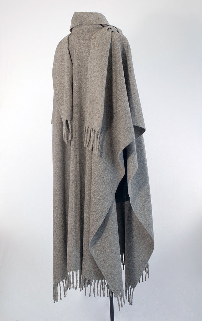 Authentic grey wool poncho with scarf and buttons back