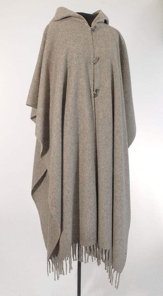 Authentic womens grey Hooded wool poncho with buttons front