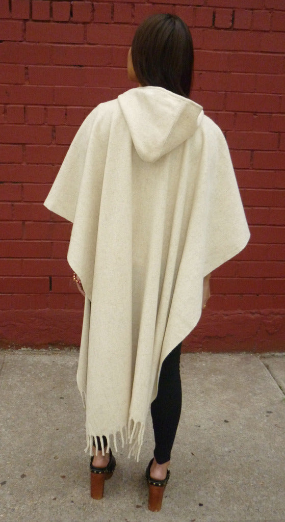 Authentic womens white Hooded wool poncho back