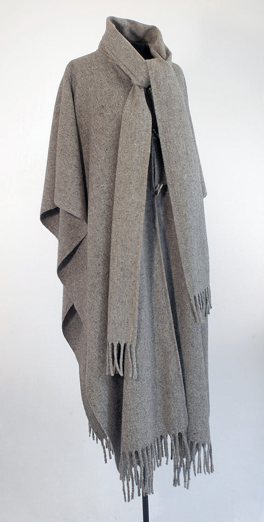 Authentic grey wool poncho with scarf and buttons front
