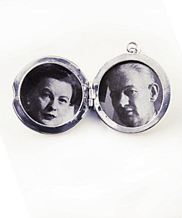 Luxury round .925 silver locket open with pictures