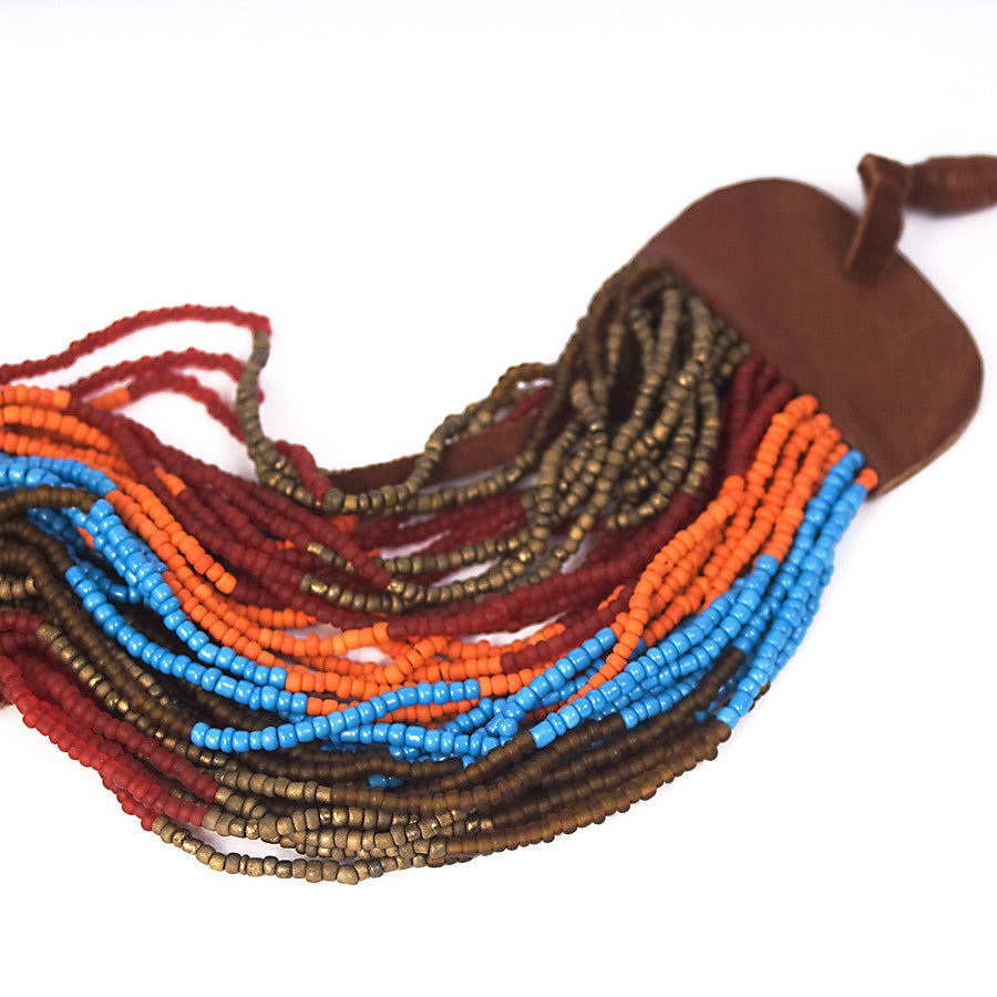 Cuff Bracelet  Multicolor Beaded Strands With Leather Tassles, Red Orange Blue Bronze