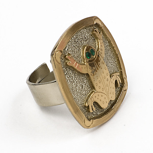 Brass ring adjustable, Frog, design Temple de México