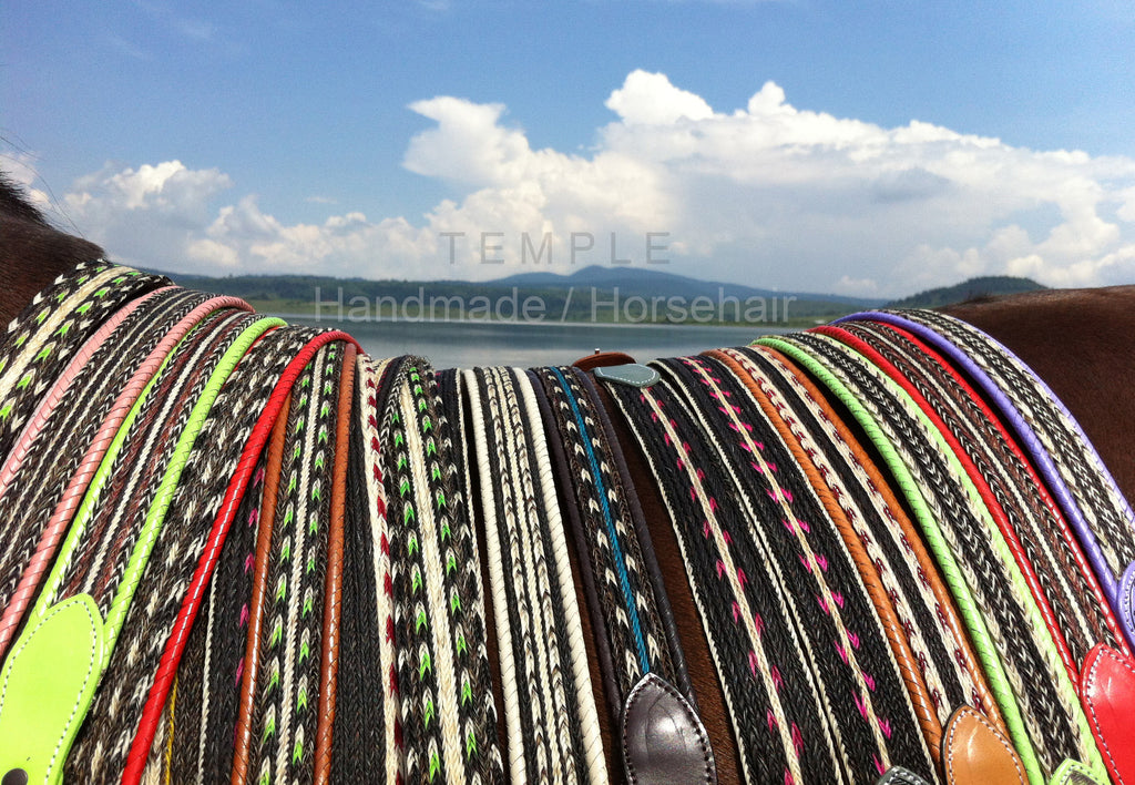 Temple de Mexico braided horsehair and leather belts handmade in Mexico
