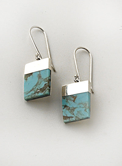 Luxury rectangular .950 Silver and Turquoise Earrings