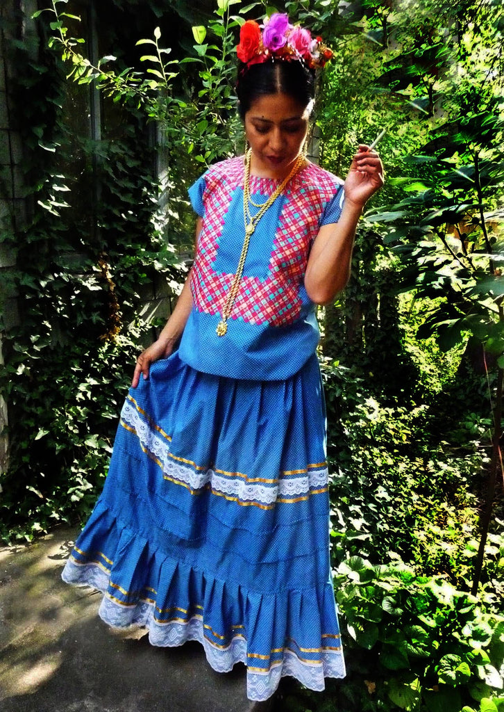 Authentic Mexican blue two piece huipil example